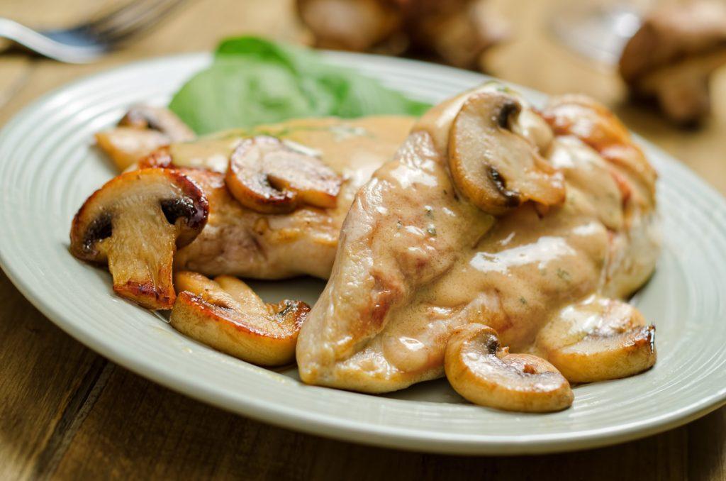 Куриная грудка с грибами на сковородке