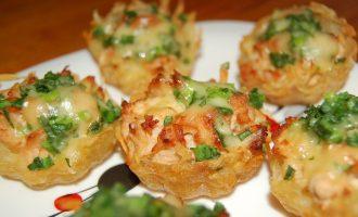 Тарталетки с грибами и картофелем