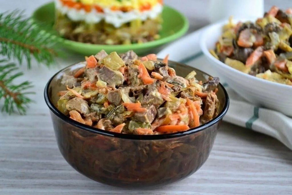 Салат с говяжьей печенью и морковью